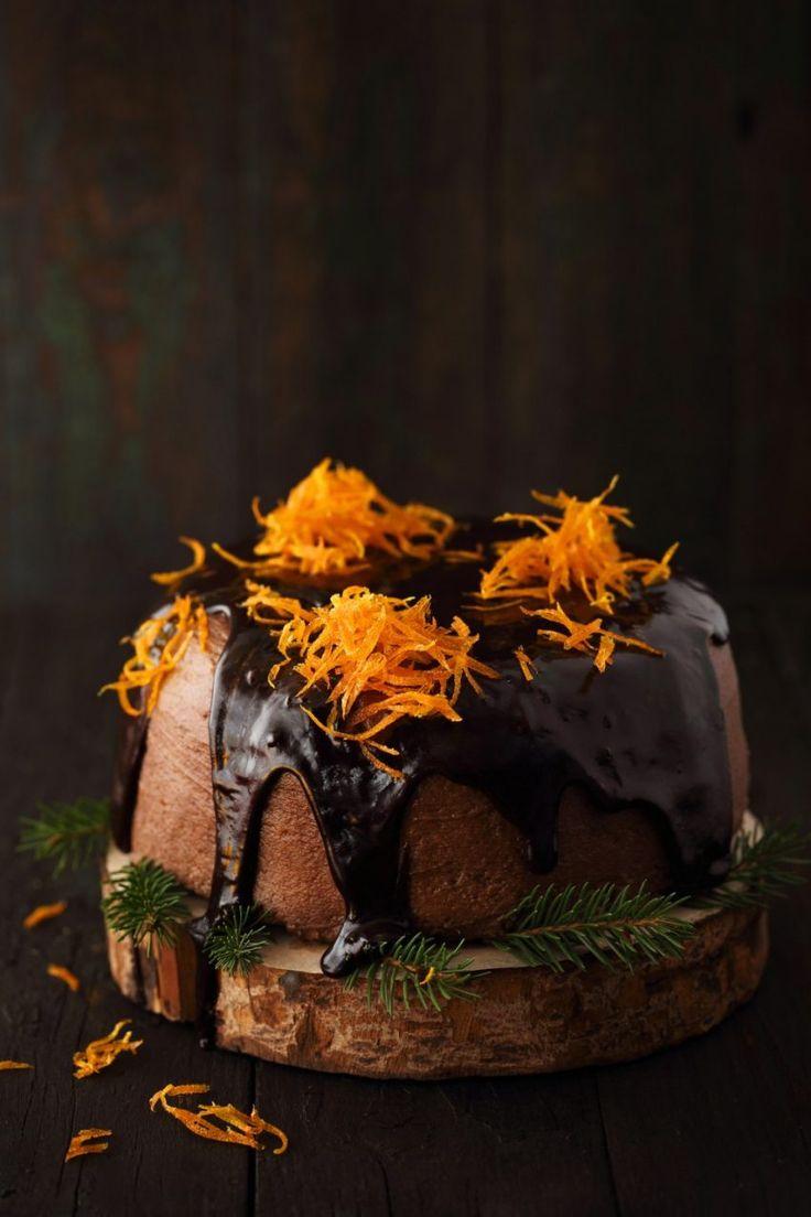Kakaowo pomarańczowe ciasto z polewą czekoladową