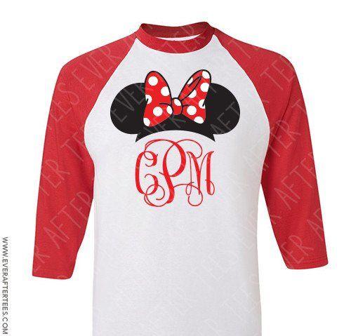 Monogram Mickey Ears Raglan T-shirt . Glitter monogram Mickey shirt. Disney Family t-shirts . Minnie Ears Monogram Raglan shirt. Family Disney Shirts