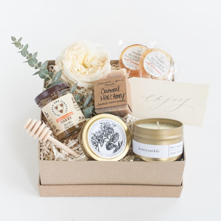 """Marigold & Grey's """"Honey Love"""" gift box design is a  favorite! Perfect as a thank you gift, wedding welcome gift, hostess gift, bridesmaid gift, housewarming gift, client gift, corporate gift, bridal shower gift and more! Source: https://www.marigoldgrey.com/shop/pre-designed-gifts.html"""