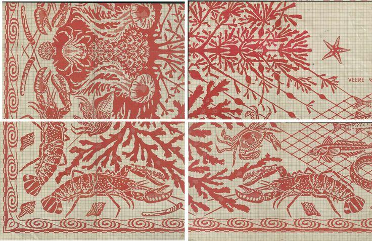 Patroontekening voor een damasten tafellaken  voor de Provinciale Staten van Zeeland,, Dirk van Gelder, E.J.F. van Dissel