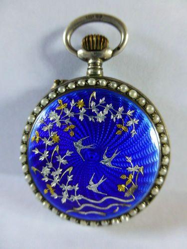 Antiquesolid Silver Pearl Enamel Pocket Fob Watch   eBay