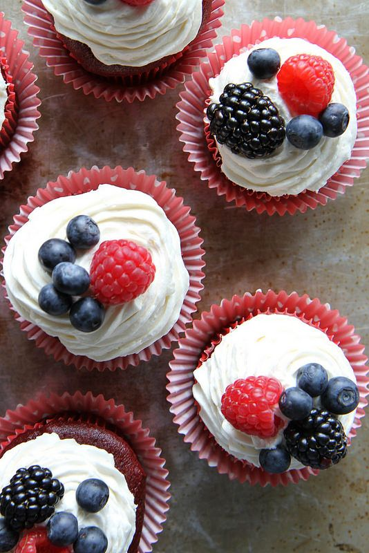 Gluten-Free and Vegan Red Velvet Cupcakes with Cream Cheese Frosting   gorgeous little fourth of July treats from Heather Christo