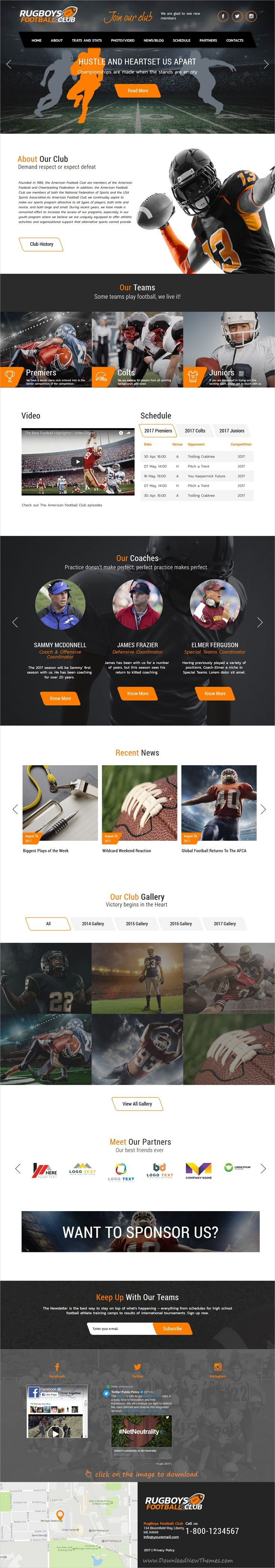 RugBoys is clean and modern design responsive #WordPress theme for American #football, #ruby club and any sports website to live preview & download  click on the image.