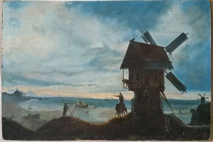 Windmill in Holland vintage oil painting on hardboard, 62 x 42 cm | Art, Paintings | eBay!