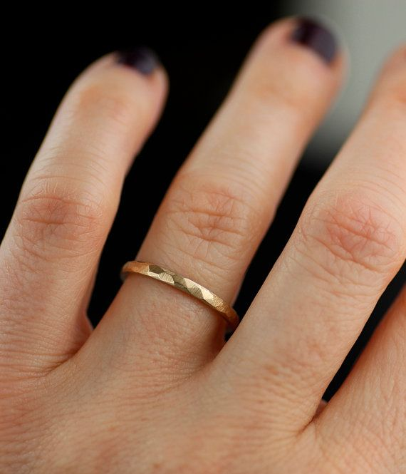 Wedding bands, womens wedding band set, mens wedding band, faceted wedding ring set, yellow white rose gold wedding ring, platinum band
