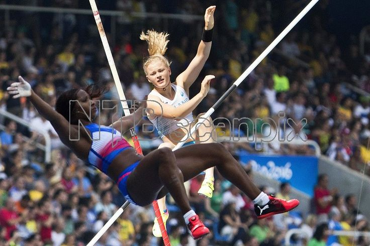 Wilma Murto (back) of Finland and Yarisley Silva (front) of Cuba compete during the women's Pole Vault qualification of the Rio 2016 Olympic Games Athletics, Track and Field events at the Olympic Stadium in Rio de Janeiro, Brazil, 16 August 2016. EPA/PETER KLAUNZER