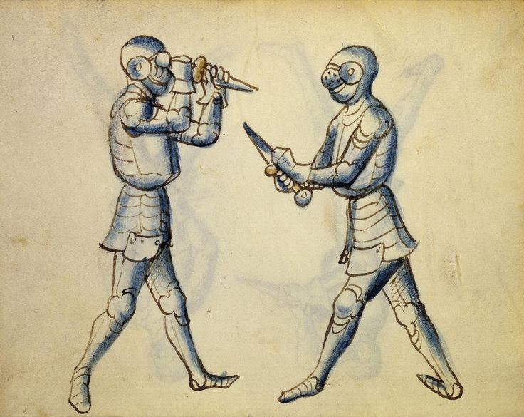 Cod. 11093, 33v: Book on Swordsmanship and Wrestling, mid-15th c. Austrian National Library, Public Domain