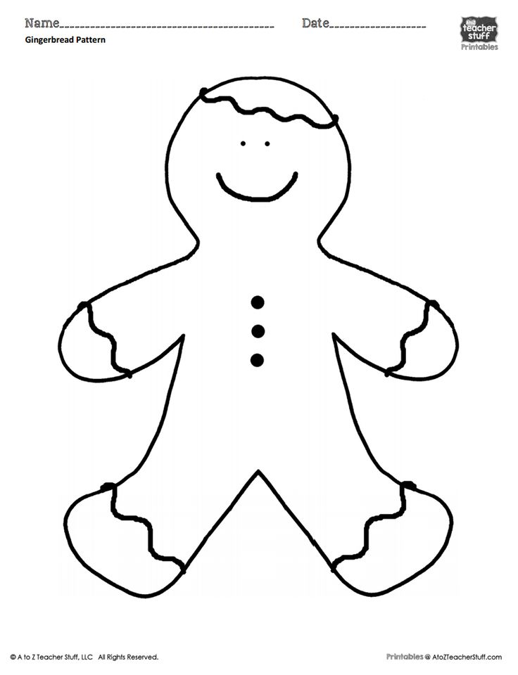 Gingerbread Man Coloring Sheet or Pattern | A to Z Teacher ...