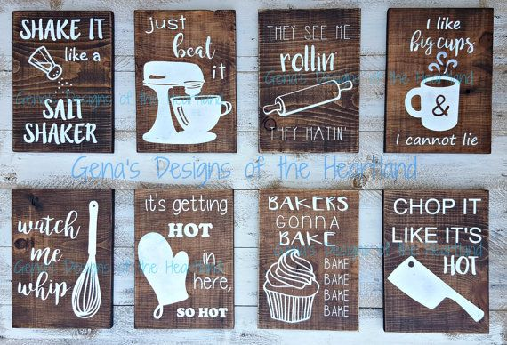Fun Kitchen Decor :8 Funny Kitchen Wood Signs | watch me whip | see me rollin | set | beat it | bakers gonna bake | chop it | home decor | wall hanging | song