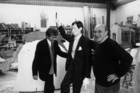 "Alighiero Boetti with his sculpture ""Selfoportrait"" and Arnaldo Pomodoro (at Pomodoro's studio), Milan 1993. Photo by Carlo Orsi"