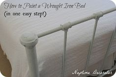 How to Paint a Wrought Iron Bed Frame (add plaster)