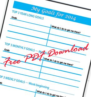 Free 2014 Goals Wall Planner