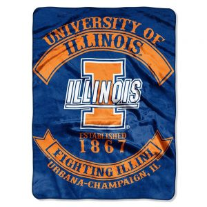 """Illinois Fighting Illini NCAA Royal Plush Raschel Blanket (Rebel Series) (60x80"")"". This is the softest; brightest; and plushest printed blanket on the planet! This luxurious throw can be used at the game; on a picnic; in the bedroom; or cuddle under it in the den while watching the game. These blankets are extra warm and have superior durability. They are easy to care for; and are machine washable and dryable. The throw blanket is made of acrylic and polyester. Availability: Usually ships…"