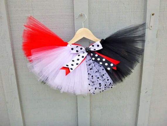 Cruella Deville Halloween Costume Run Disney Tutu 101 dalmatians dalmation polka dot skirt red black white Adult Youth Plus size freak night