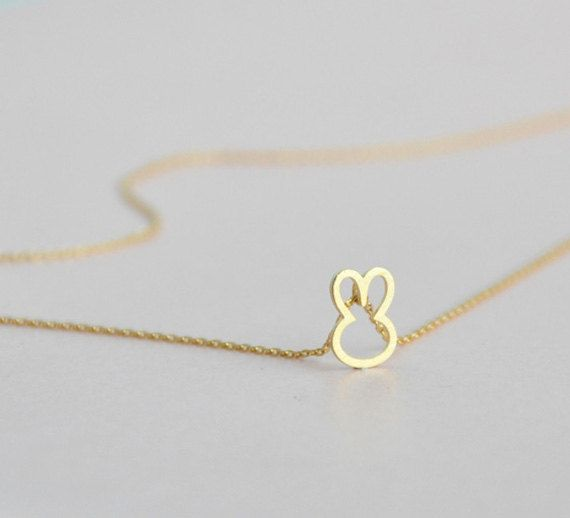 Cute Bunny Necklace in Gold. $14.00