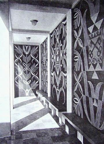 Sgraffito decoration in Polish Pavilion by Adalbert Jastrzebowski - Paris Expo, 1925