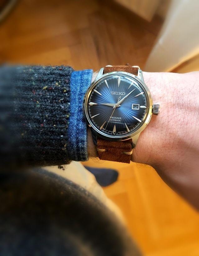 Seiko Presage On A Brown Suede Strap From Watchbandit De