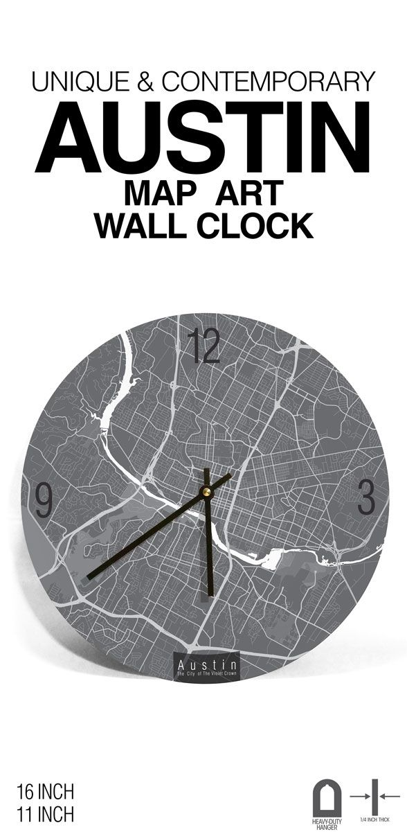 AUSTIN, TEXAS, Map Art Clock. Give some definition to your wall, home or office with this contemporary, iconic and abstract Austin, Texas, map line-art wall clock - Features streets of city of the violet crown. #Austin #Clock #Wallclock #ArtnWalls #modernclock #uniquegift #officedecor