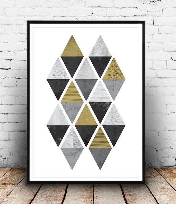 Abstract pattern print Triangles poster Gold decal by Wallzilla