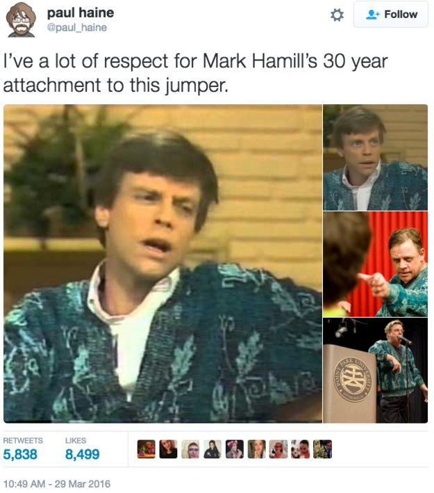 When he hung onto this sweater for thirty years, and it was the most dad sweater imaginable. | 15 Times Mark Hamill Was The Fandom Dad We've Always Needed