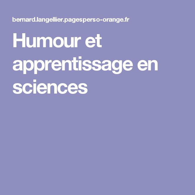 Humour et apprentissage en sciences