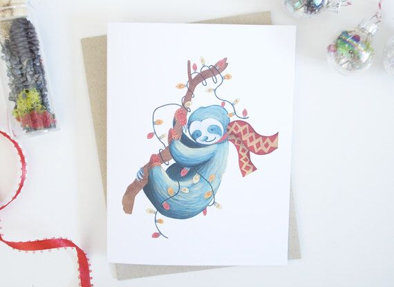 A personal favorite from my Etsy shop https://www.etsy.com/ca/listing/481532621/sloth-christmas-lights-holiday-greeting