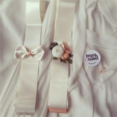 Somon Beyaz Erengül Takı Kurdelesi  Takı töreninize de çiçekler eşlik etsin