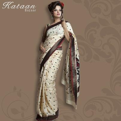 Fawn Color Polyester Saree