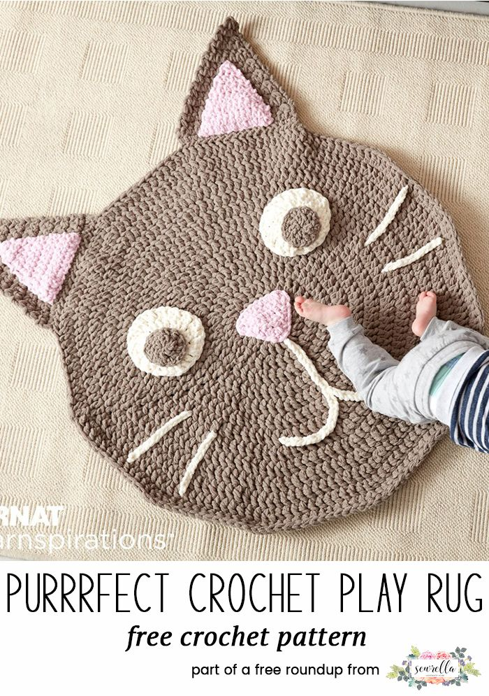 Crochet this cute kitty cat rug for kids from my baby playtime essentials free pattern roundup!