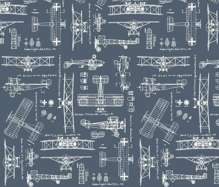 Vintage Airplane Fabric Wallpaper Gift Wrap And Decals