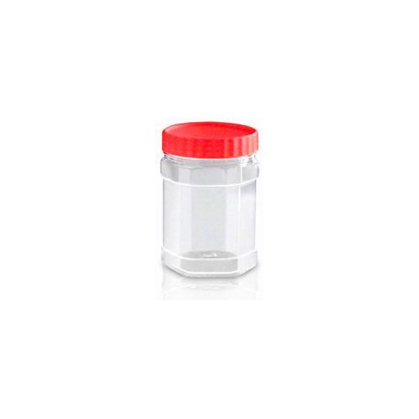 Buy #Sunpet Set of Hexagonal 400 ml Red Top Plastic Food Storage Jars Canisters (3 Pack) - Storage Jars and more #Homeware, #Kitchenware and #Cookware products at Popat Stores. #StorageJars