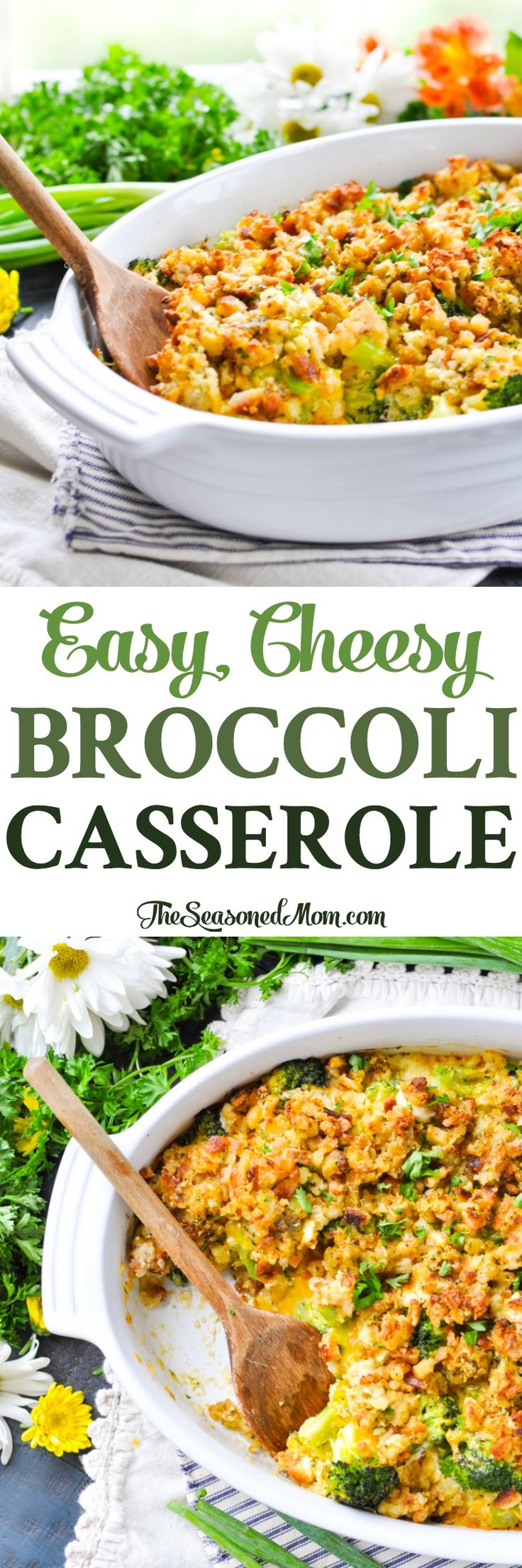 This Easy, Cheesy Broccoli Casserole is an easy side dish for Thanksgiving, potlucks, or weeknight dinners! Broccoli Recipes | Broccoli Cheese Casserole | Easy Side Dishes #sides #broccoli #casserole