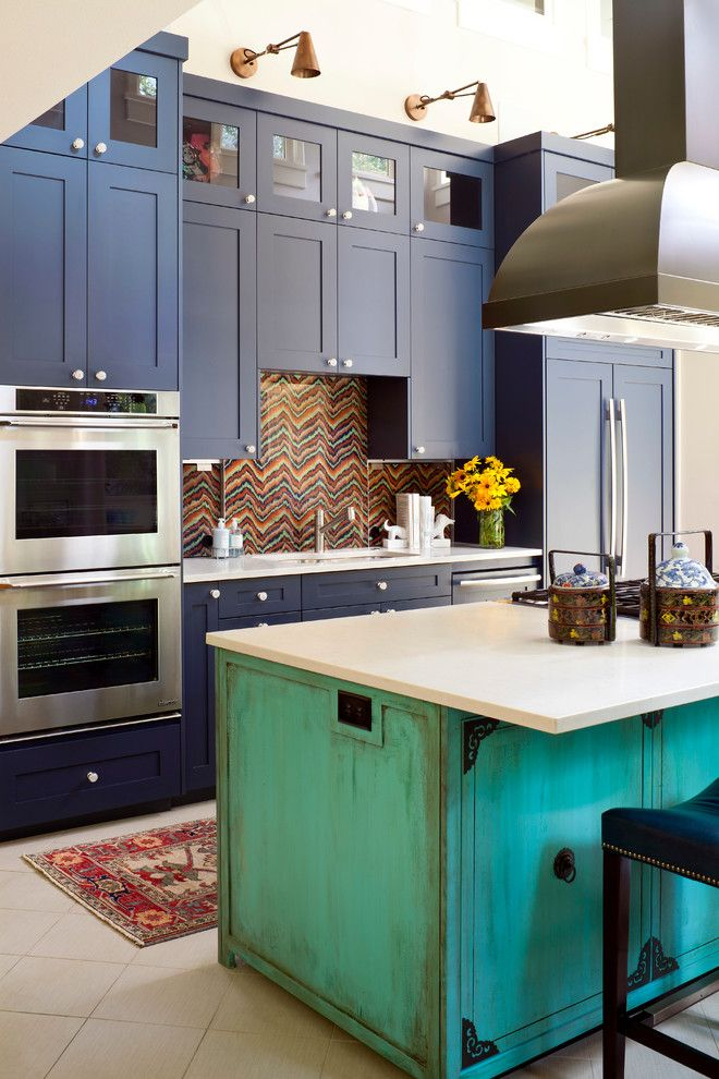 custom made kitchen islands shaker cabinets wall lamps undermount sink stainless steel appliances multicolored backsplash carpet ceramic tiles stool eclectic design of Amazing Custom Made Kitchen Islands to Draw Inspirations From
