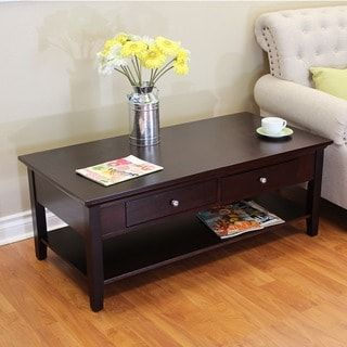 Ferndale Two-drawer Espresso Coffee Table | Overstock.com Shopping - The Best Deals on Coffee, Sofa & End Tables