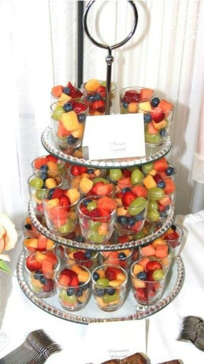 Fruit cups, but on two matching trays