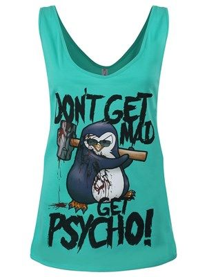 Psycho Penguin Don't Get Mad Ladies Turquoise Drop Armhole Vest Exclusive To Grindstore