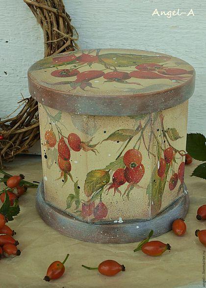 Купить или заказать Деревянный короб 'Шиповник' в интернет-магазине на Ярмарке Мастеров. Короб из ольхи ' Шиповник' в стиле кантри. Для хранения сушеных ягод,сухофруктов,чая,сыпучих продуктов... Внутри чистое дерево. Размеры d 15 см,h 13 см.