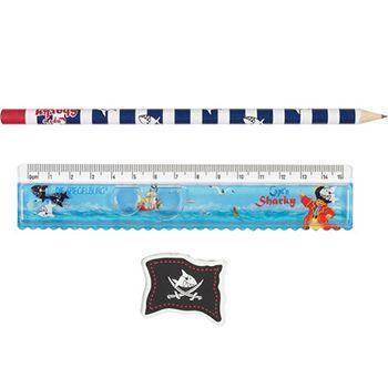 Σετ Χάρακας – Μολύβι – Γόμα «Sharky» | Το Ξύλινο Αλογάκι - παιχνίδια για παιδιά