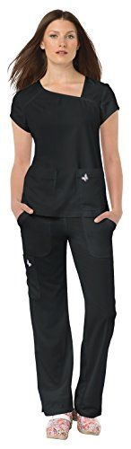 Koi Mariposa Women's Tara Asymmetrical V-Neck Solid Scrub Top Medium Black:   Update your everyday scrubs with this koi Mariposa Women's Tara Asymmetrical V-Neck Solid Scrub Top. Laser cut detail and flattering flare lines are the signature details on this scrub. Junior fit Asymmetrical v-neckline Short sleeves Laser cut detail at shoulder yokes and sleeves Laser cut slanted back yoke with logo detail Two front patch pockets Side vents at hem 73% polyester 22% rayon 5% spandex 4-way st...