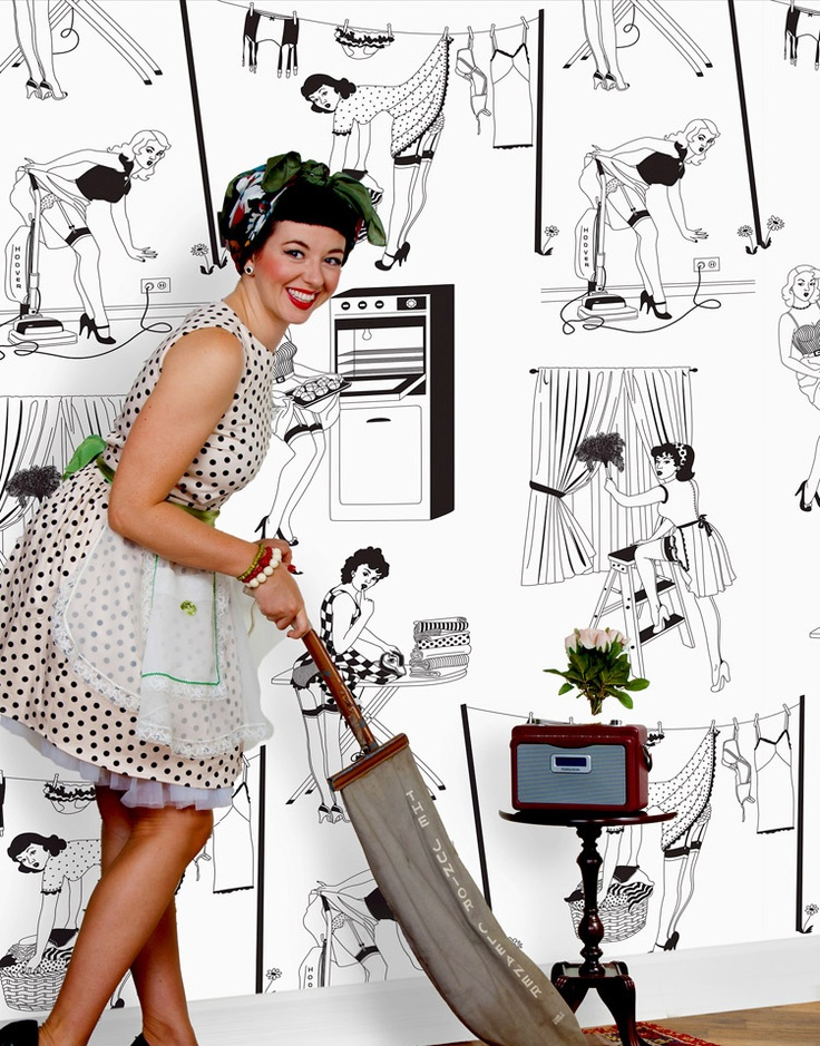16 best vintage retro wallpaper looks images on for Quirky wallpaper