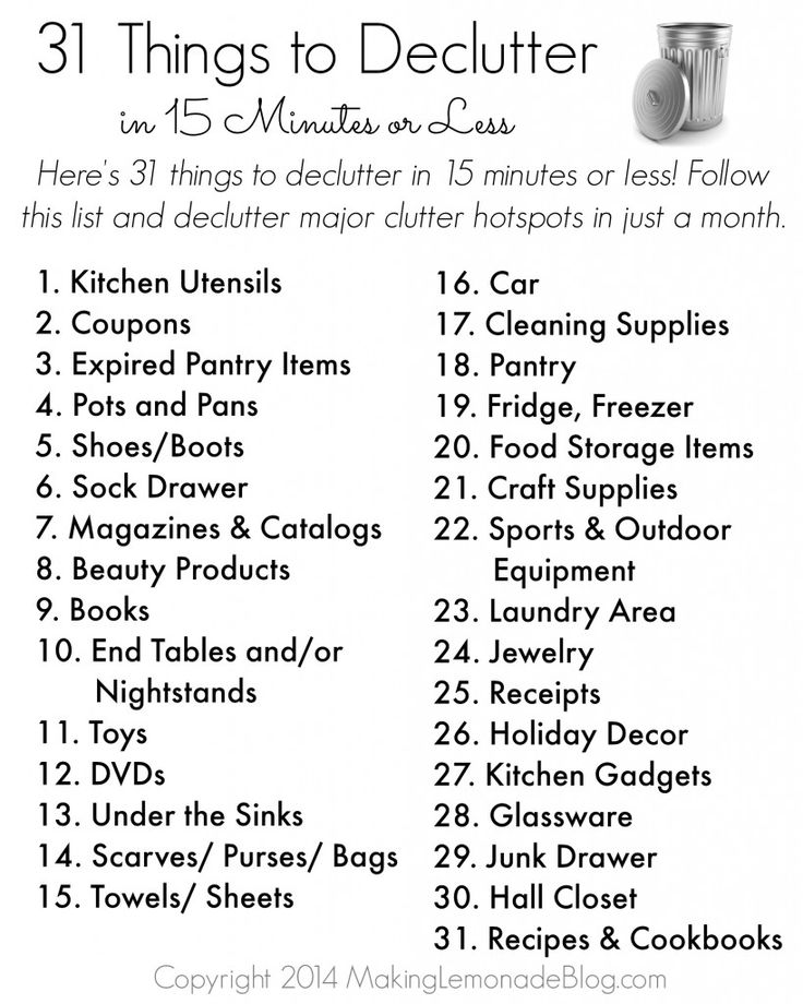 Free Printable: 31 Things to Decluttter in 15 Minutes or Less @makinglemonade1