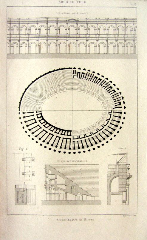 1852 Antique Roman architecture engraving by LyraNebulaPrints, $23.95