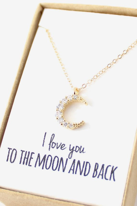 Gold Crescent Moon Necklace Tiny Moon Necklace cute to give to bf or family!!