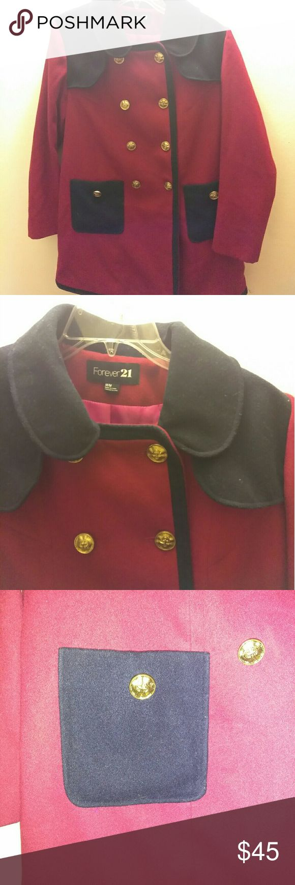 """Forever 21 Nautical Peacoat Red and Navy with gold button and hot pink interior, excellent condition but small white mark on inside lapel (see last picture), as seen on Sorry Deschanel as Jessica Day on """"New Girl"""" Forever 21 Jackets & Coats Pea Coats"""