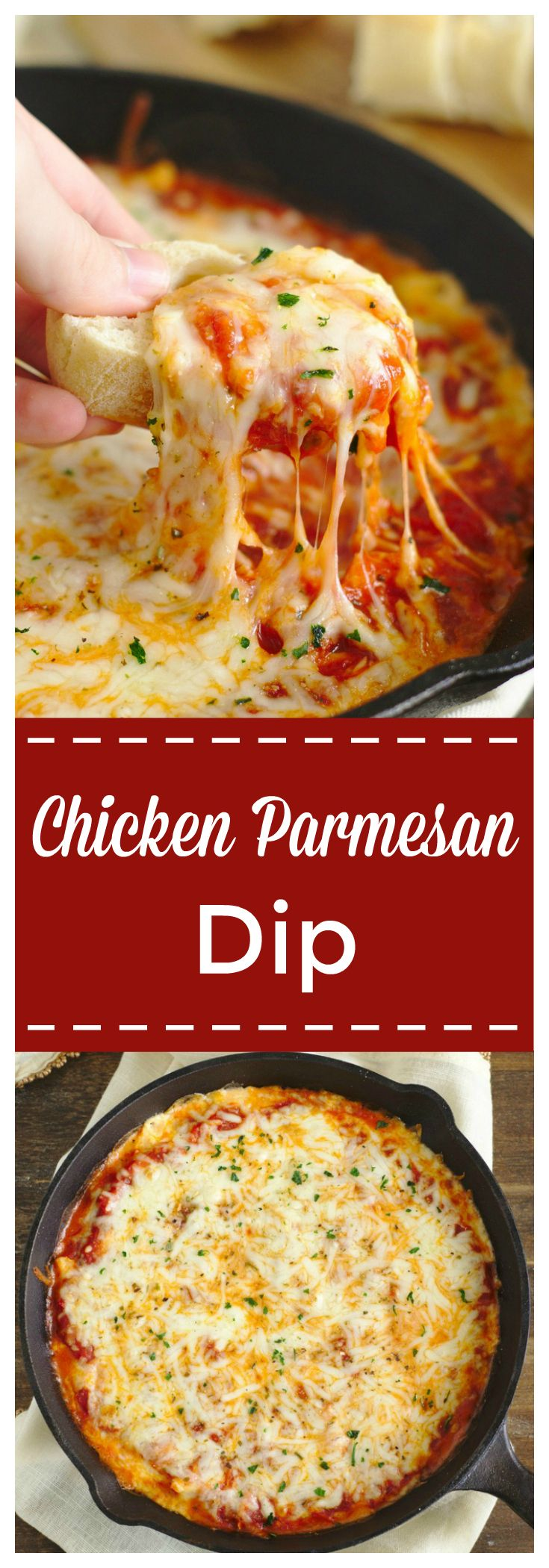 Chicken Parmesan Dip – A quick and easy appetizer recipe that tastes just like chicken parmesan! Ricotta, marinara sauce, chicken, mozzarella, and parmesan layered in a skillet and baked until hot! This is the ultimate easy dip recipe! #dip #chicken #parmesan #appetizer