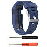 GBSELL Replacement Silicone Band Rubber Strap Wristband Bracelet For Fitbit Charge HR Large (Blue) - http://www.painlessdiet.com/gbsell-replacement-silicone-band-rubber-strap-wristband-bracelet-for-fitbit-charge-hr-large-blue/