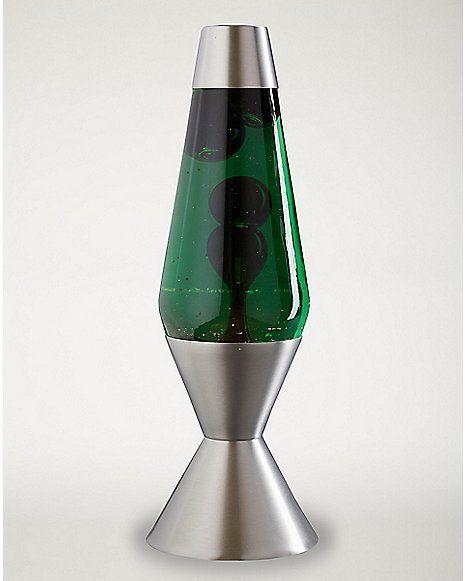 Lava Lamp- 16.3 Inch Green Liquid Black Wax - Spencer's