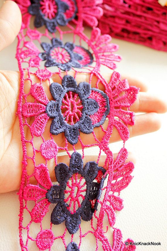 Fuchsia Pink And Blue Embroidery Crochet (Cotton) One Yard Lace Trims.  Width:Approx. 85mm Wide