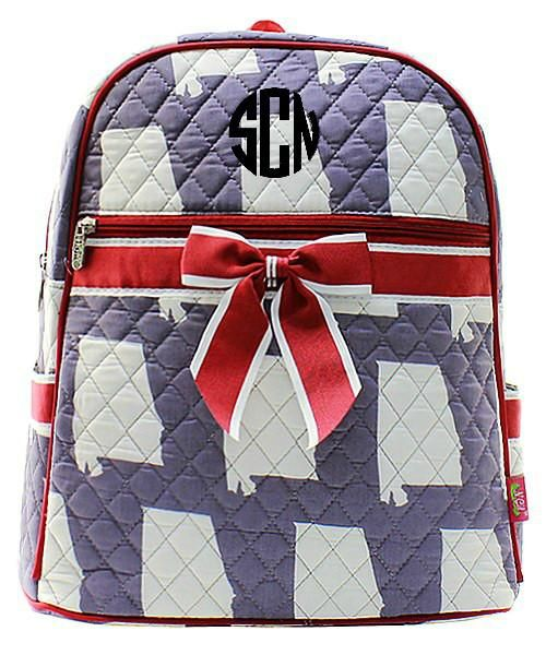 Personalized Alabama Quilted Kid's Backpack - Crimson