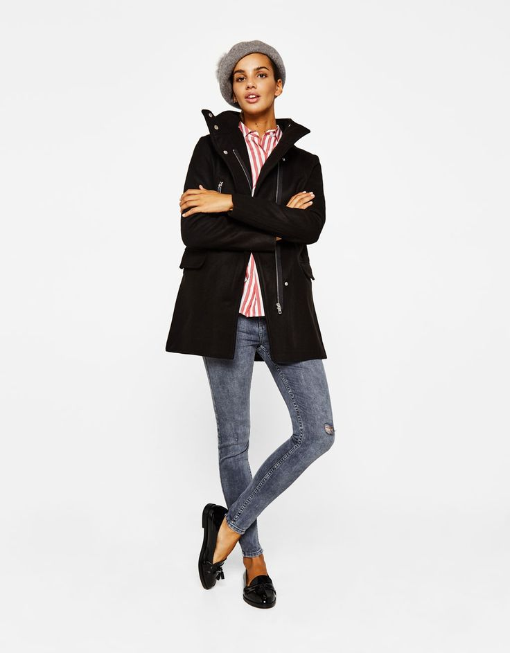 Woolly coat with zips - Coats - Bershka Tunisia
